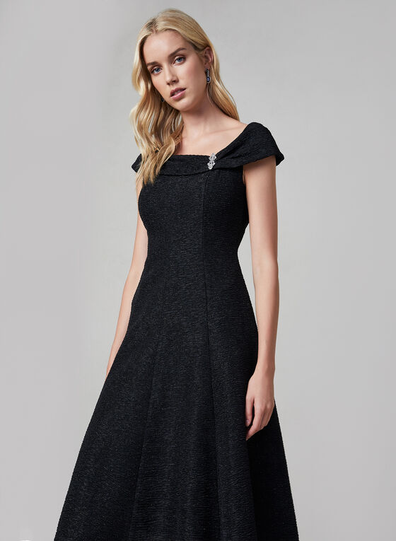 Glitter Fit & Flare Dress, Black