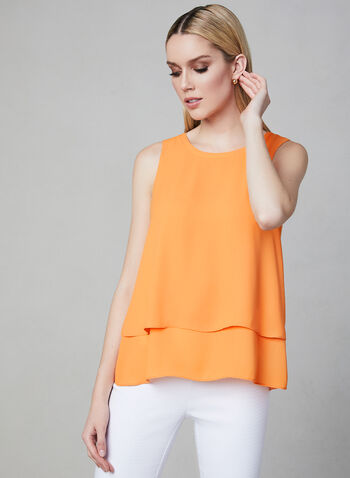 Sleeveless Crepe Top, Orange, hi-res,  Spring 2019, sleeveless, crepe, layering piece