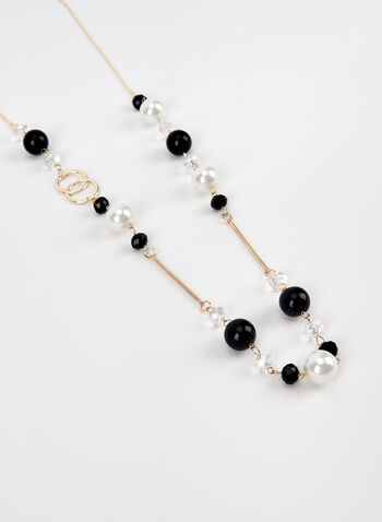 Pearl Detail Necklace, Black, hi-res