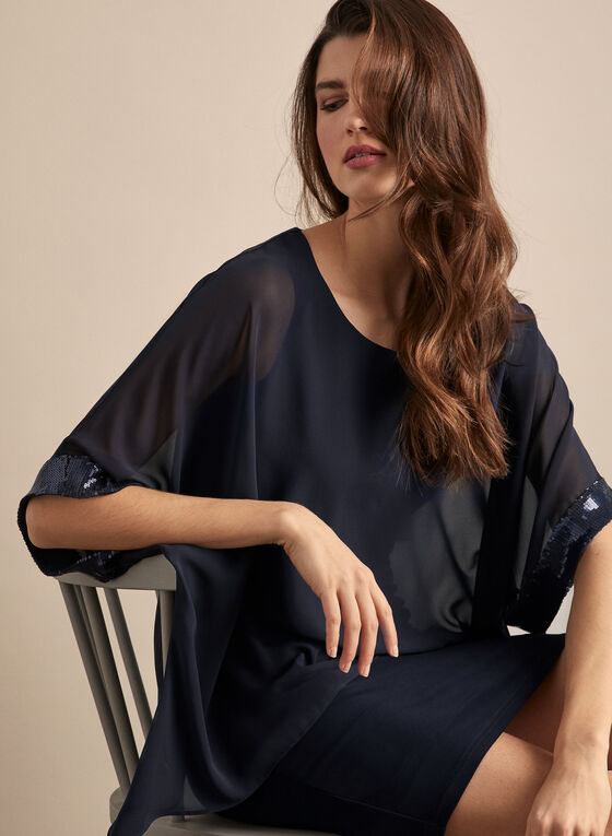 Joseph Ribkoff - Chiffon Overlay Cocktail Dress, Blue