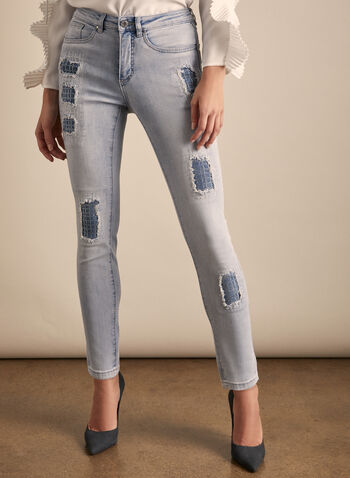 Joseph Ribkoff - Distressed Rhinestone Detail Jeans, Blue,  jeans, slim leg, distressed, rhinestones, denim, stretchy, ankle length, pockets, spring summer 2020