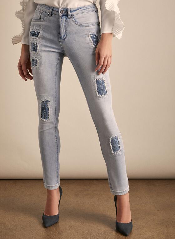 Joseph Ribkoff - Distressed Rhinestone Detail Jeans, Blue