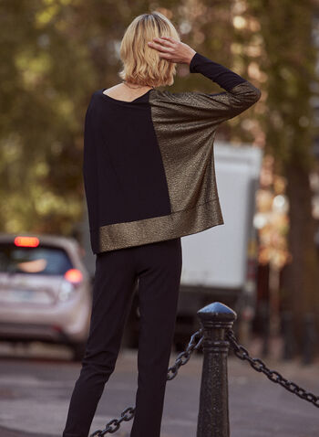 Joseph Ribkoff - Colour Block Sweater, Black,  made in Canada, online exclusive, top, sweater, knit, boat neck, long sleeves, two tone, colour block, relaxed fit, fall winter 2021