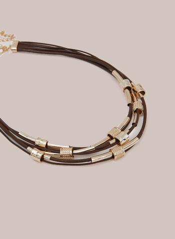 Collier multirang à rondelles métallisées, Brun,  automne hiver 2020, collier, bijou, accessoire, corde, rondelles, métallique, doré, or, métal