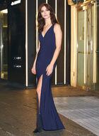 BA Nites - Sleeveless V-Neck Evening Dress, Blue