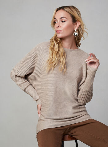 Dolman Sleeve Knit Top, Brown, hi-res,  knit, sweater, dolman sleeves, long sleeves, fall 2019, winter 2019