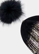 Metallic Knit Toque, Black, hi-res