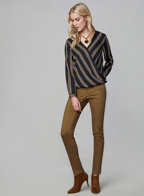 Coloured Slim Leg Jeans, Gold, hi-res