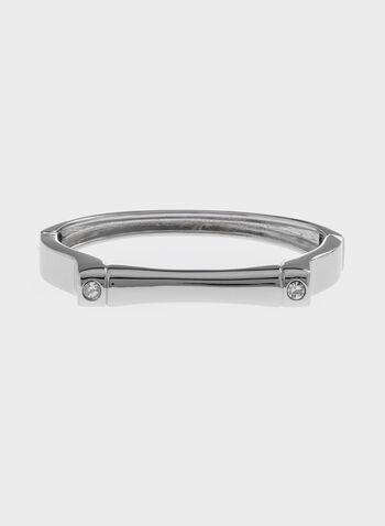 Bracelet épuré en métal lisse , Argent, hi-res
