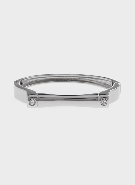 Flat Top Hinge Bangle , Silver, hi-res