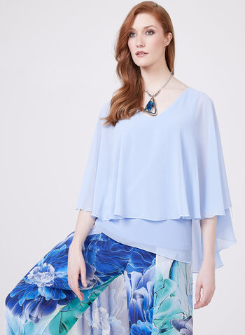 Frank Lyman – Split Sleeve Poncho Blouse, Blue, hi-res
