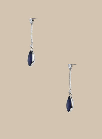 Teardrop Pendant Earrings, Blue,  earrings, pendant, teardrop, crystal, metallic, spring summer 2020