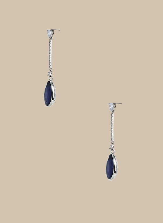 Teardrop Pendant Earrings, Blue
