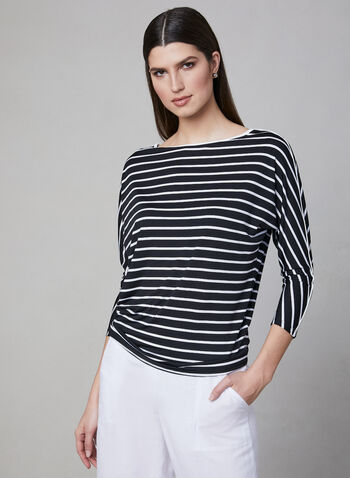 Stripe Print Dolman Sleeve Top, Black, hi-res