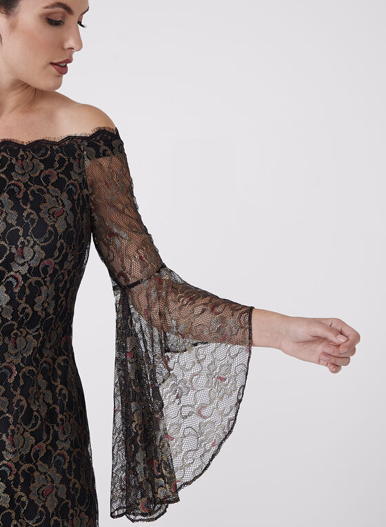 Off The Shoulder Mesh Dress, Multi, hi-res