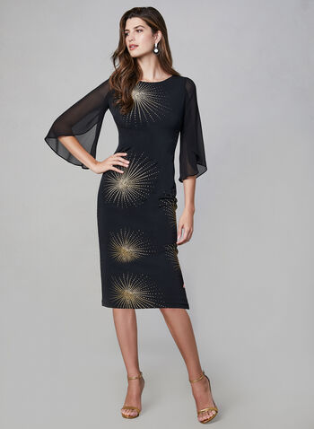 Frank Lyman – Textured Starburst Print Dress, Black, hi-res,  puff print dress, cocktail dress
