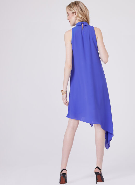 Asymmetrical Draped Dress, Blue, hi-res