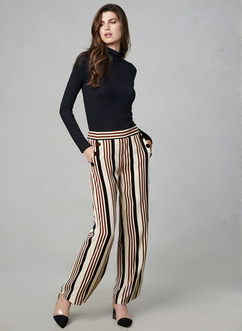 Stripe Print Wide Leg Pants, White, hi-res