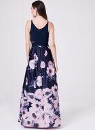 BA Nites - Sleeveless Floral Print Ball Gown, Blue, hi-res