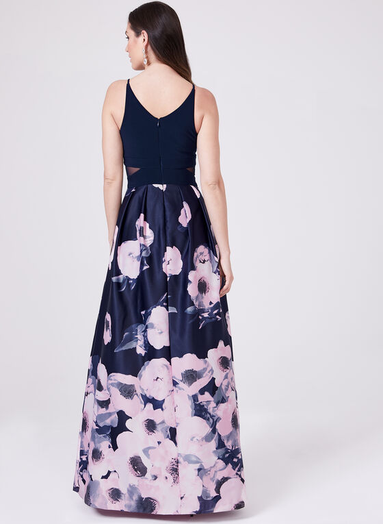 BA Nites - Sleeveless Floral Print Ball Gown, Blue, hi-res