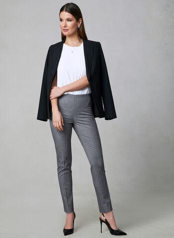 Pantalon Amber en tissu chiné, Noir, hi-res,  taille haute, taille élastique, jambe étroite, coupe Amber, printemps 2019