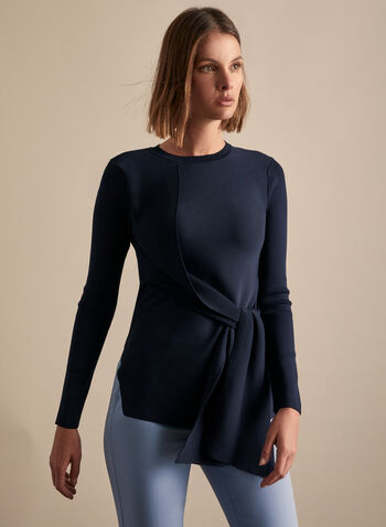 Spanner - Front Tie Detail Sweater , Blue,  sweater, long sleeves, crew neck, tie detail, rib knit, fine knit, stretchy, spring summer 2020