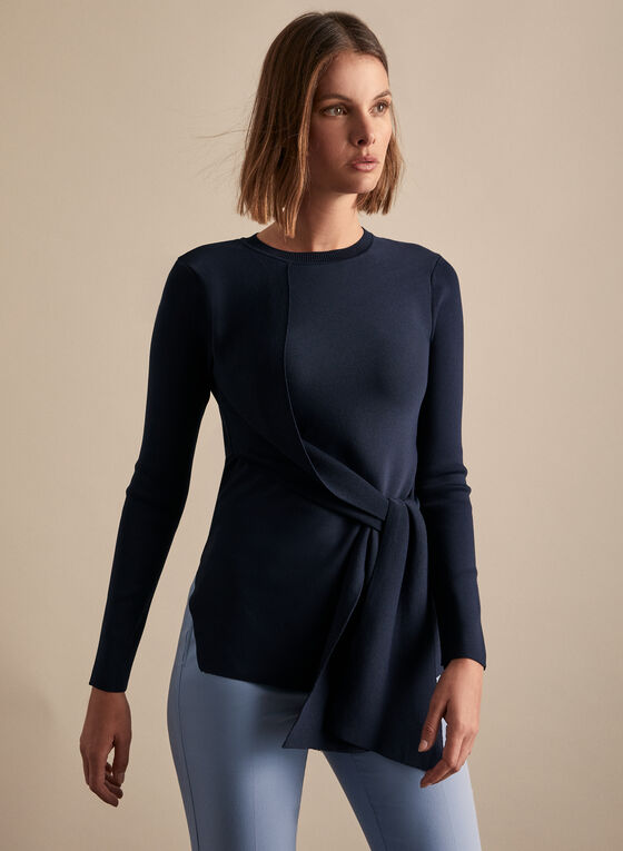 Spanner - Front Tie Detail Sweater , Blue