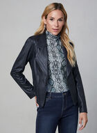 Vex - Faux Leather Jacket, Blue