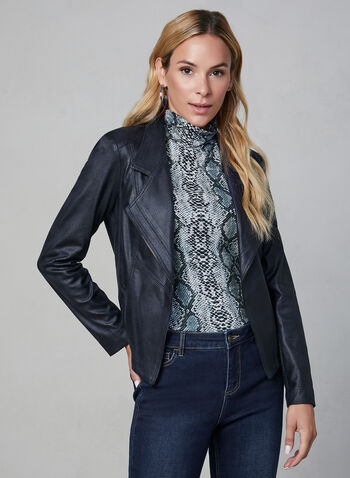 Vex - Faux Leather Jacket, Blue,  jacket, blazer, long sleeves, fall winter 2019, faux leather