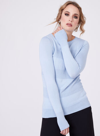 Pull en tricot ottoman côtelé effet rayé, Bleu, hi-res