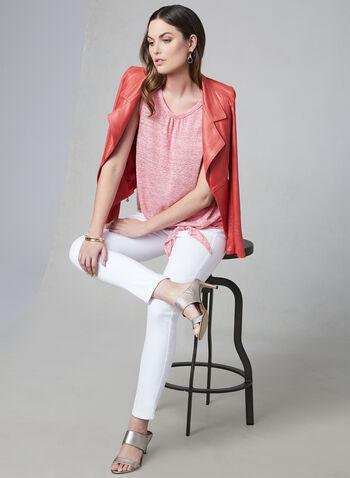 Jean à jambe étroite, Blanc,  jean, jambe étroite, poches, cristaux, coton, printemps 2019