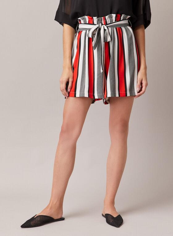 Stripe Print Belted Shorts, Black