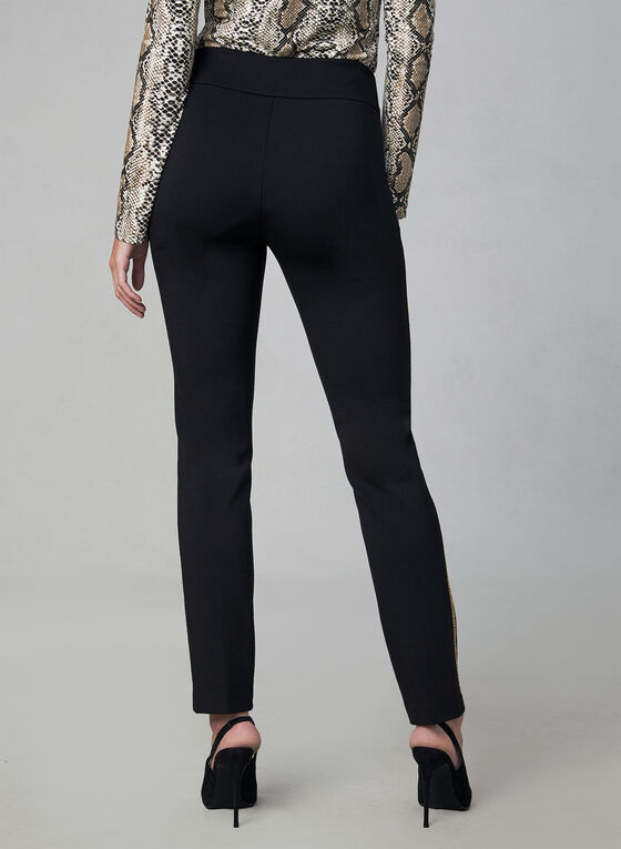 Madison Contrast Trim Pants, Black