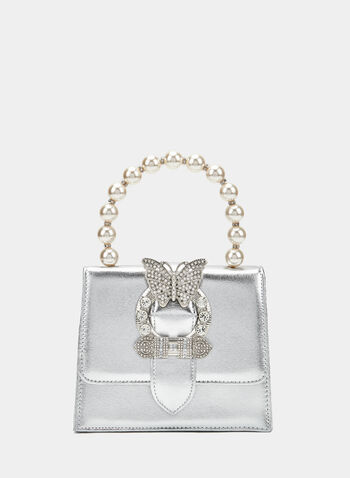 Butterfly Detail Clutch, Silver, hi-res
