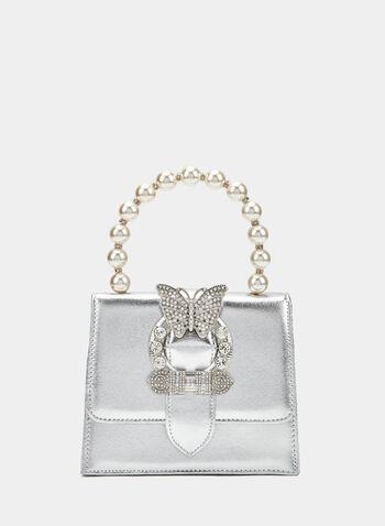 Minaudière avec détail papillon et anse à perles, Argent, hi-res