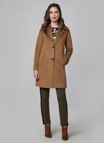 Bernardo - Wool-like Overcoat, Brown,  wool blend, wool coat, coat, long coat, buttons, jacket, long sleeves, notch collar, fall 2019, winter 2019