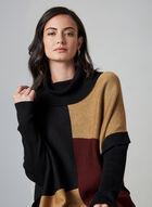 Poncho en tricot à blocs de couleurs, Noir, hi-res