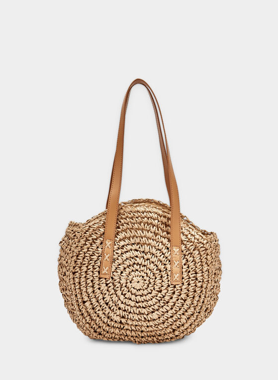 Round Straw Bag, Off White