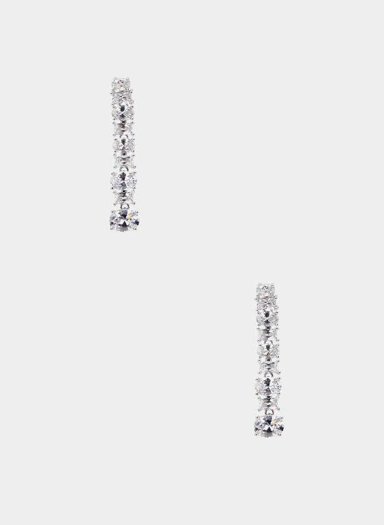Boucles d'oreilles tombantes à cristaux, Argent