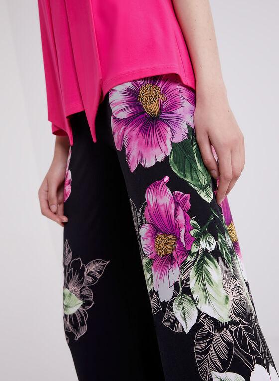 Joseph Ribkoff - Pantalon fleuri pull-on à jambe large, Noir, hi-res