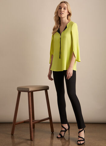 Joseph Ribkoff - Tulip Sleeve Zipper Collar Top, Green,  top, zipper, tulip sleeves, 3/4 sleeves, jersey, spring summer 2020