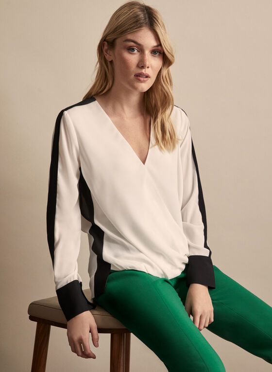 Crepe Contrast Blouse, Off White