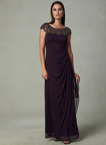 BA Nites - Beaded Neckline Dress, Purple, hi-res