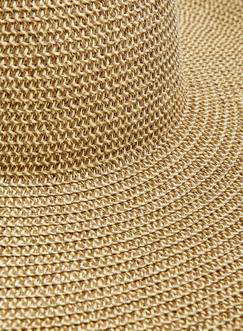 Large Straw Hat With Metallic Detail, Gold, hi-res