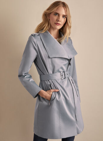 BCBGeneration - Belted Trenchcoat, Blue,  coat, trench, belt, zip, lapel collar, shoulder pads, asymmetric, spring summer 2020