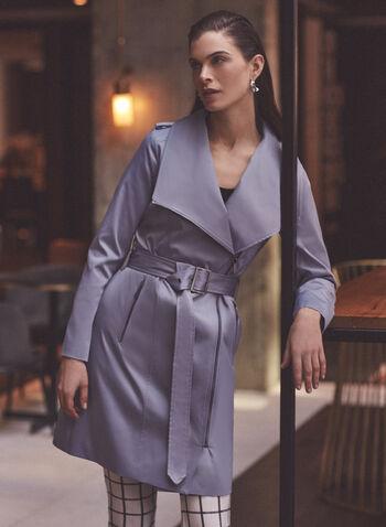 BCBGeneration - Trench à zip et ceinture, Bleu,  printemps été 2020, trench, trench-coat, manteau, BCBGeneration, manches longues, pattes d'épaules, poches, col, revers, zip, fermeture à glissière, ganses, ceinture