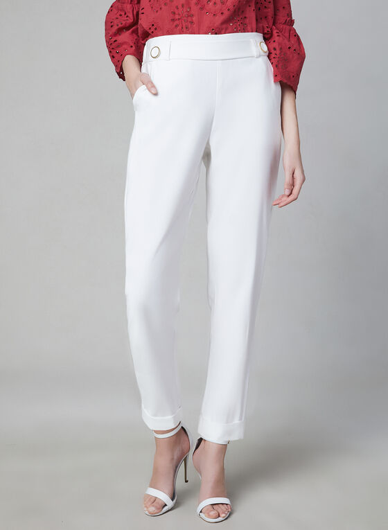 Pantalon pull-on à jambe étroite, Blanc cassé, hi-res