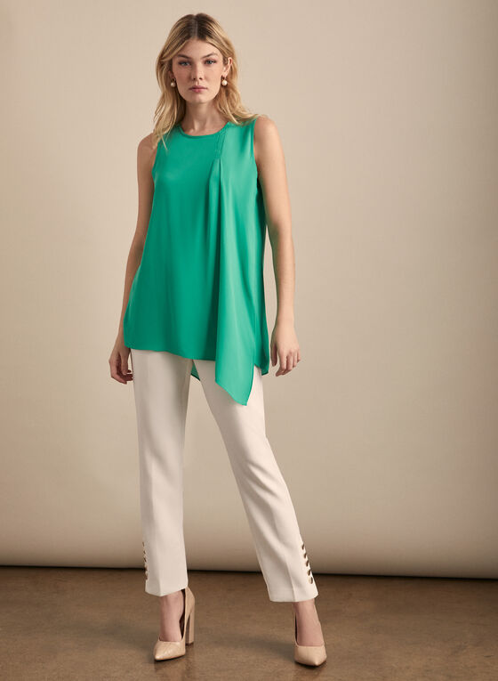 Sleeveless Layered Crepe Blouse, Green