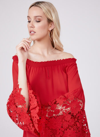 Joseph Ribkoff - Bell Sleeve Off The Shoulder Blouse, Red, hi-res