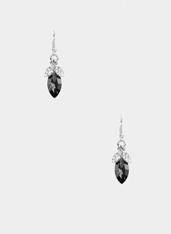 Pendants d'oreilles à pierre et cristaux, Noir,  automne hiver 2019, boucles d'oreilles, pierre, cristaux, bijou, accessoire